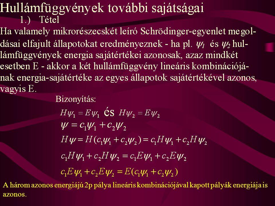 Bizonyítás: A három azonos energiájú 2p pálya lineáris kombinációjával kapott pályák energiája is azonos.