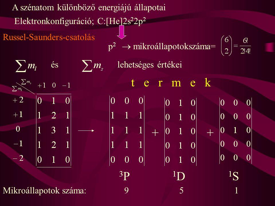 t e r m e k + 3P 1D 1S A szénatom különböző energiájú állapotai