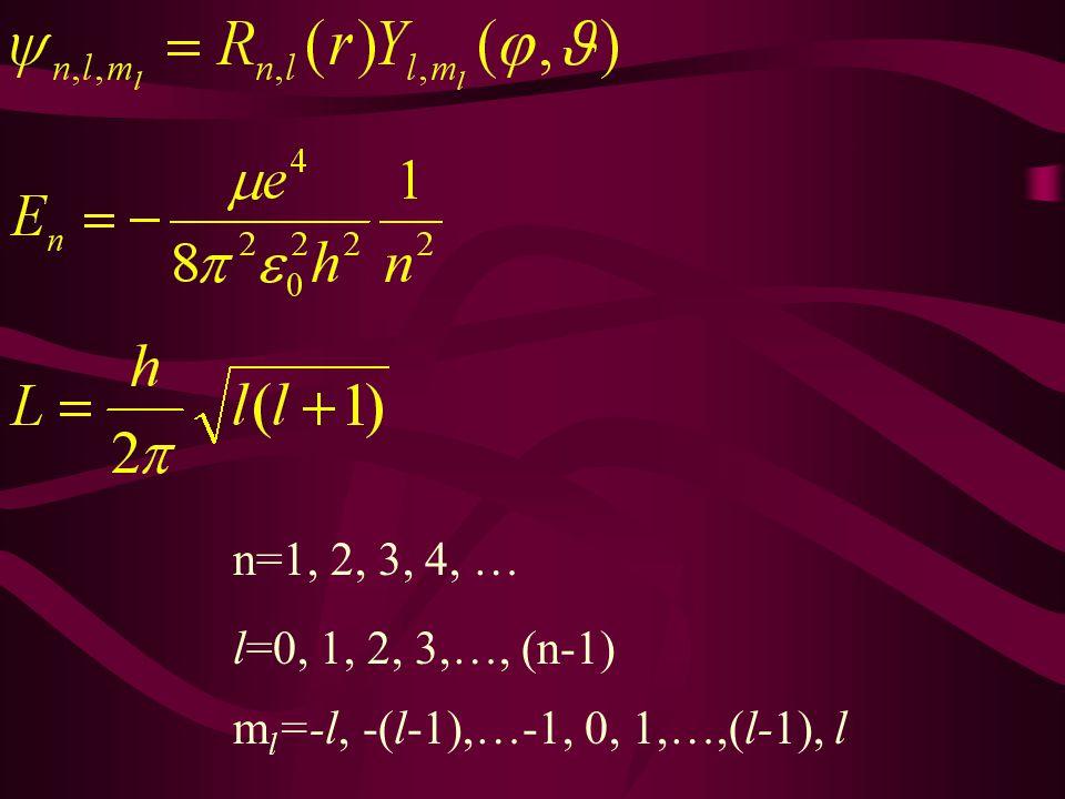 n=1, 2, 3, 4, … l=0, 1, 2, 3,…, (n-1) ml=-l, -(l-1),…-1, 0, 1,…,(l-1), l