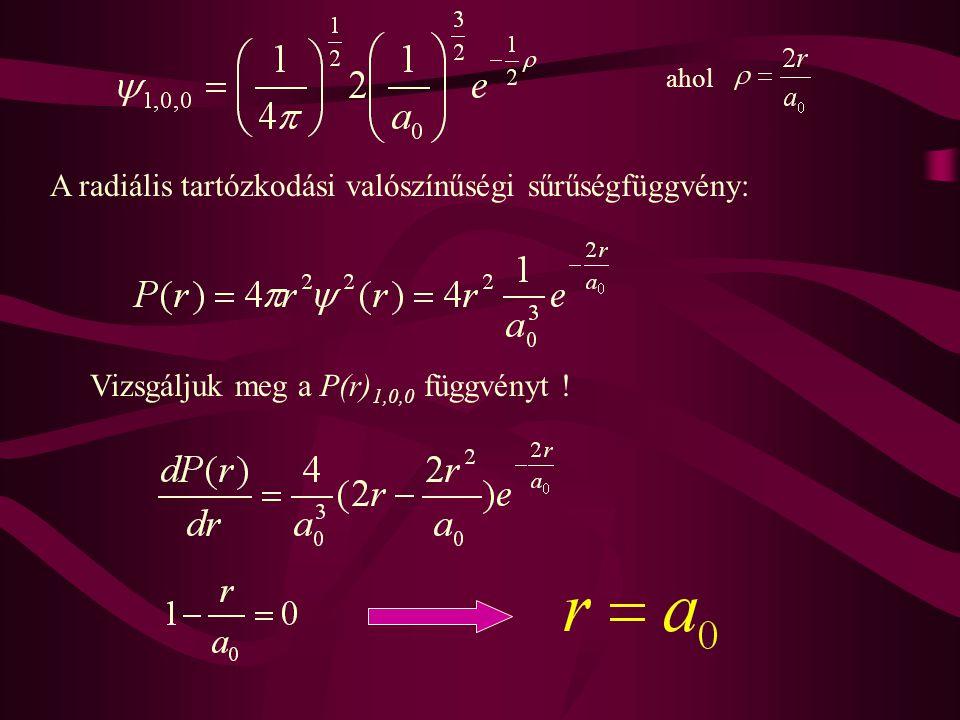 A radiális tartózkodási valószínűségi sűrűségfüggvény: