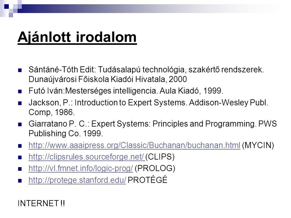 Ajánlott irodalom Sántáné-Tóth Edit: Tudásalapú technológia, szakértő rendszerek. Dunaújvárosi Főiskola Kiadói Hivatala, 2000.