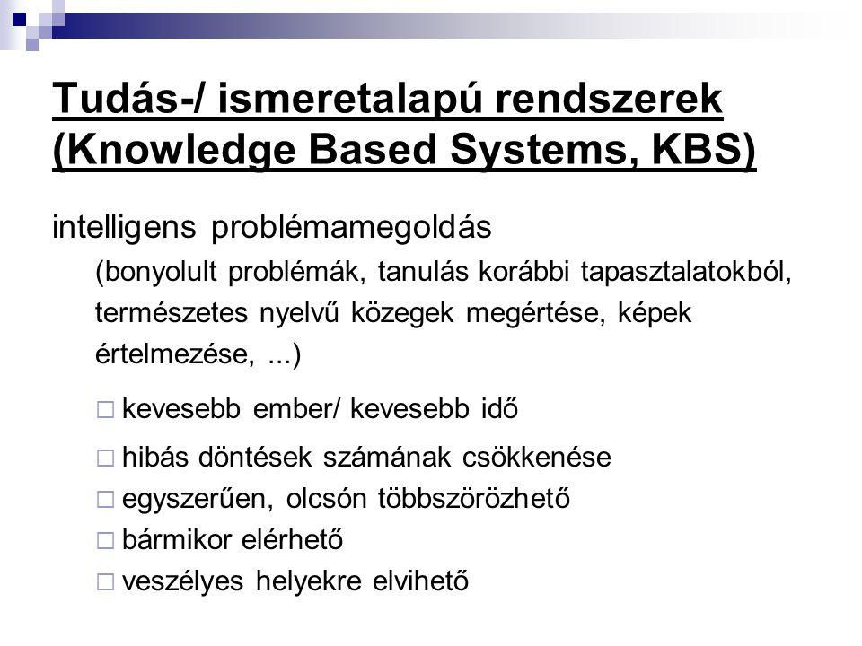 Tudás-/ ismeretalapú rendszerek (Knowledge Based Systems, KBS)