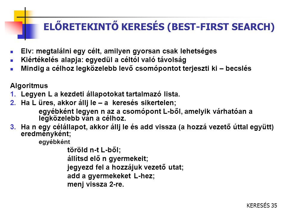 ELŐRETEKINTŐ KERESÉS (BEST-FIRST SEARCH)
