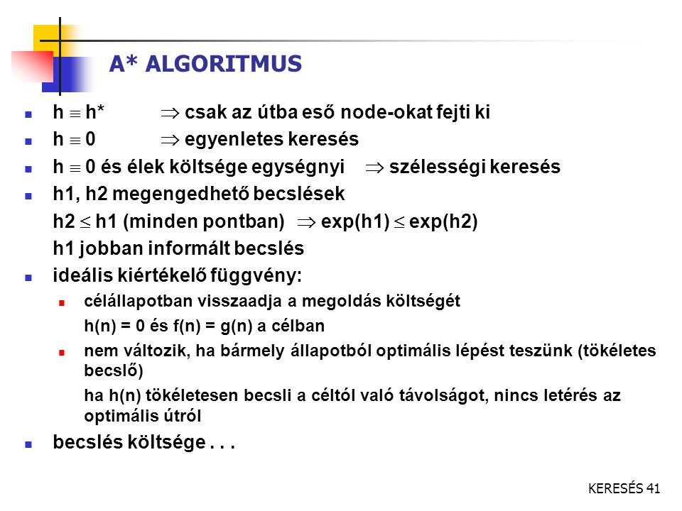 A* ALGORITMUS h  h*  csak az útba eső node-okat fejti ki