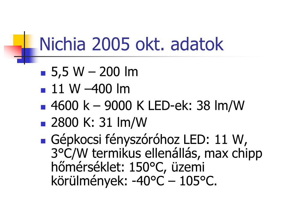 Nichia 2005 okt. adatok 5,5 W – 200 lm 11 W –400 lm