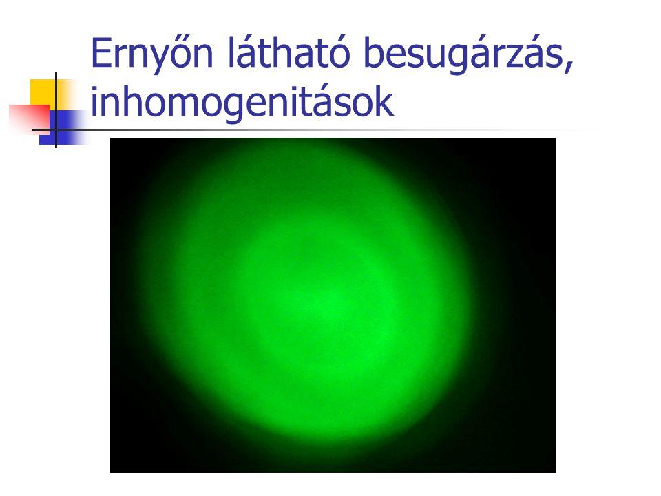 Ernyőn látható besugárzás, inhomogenitások