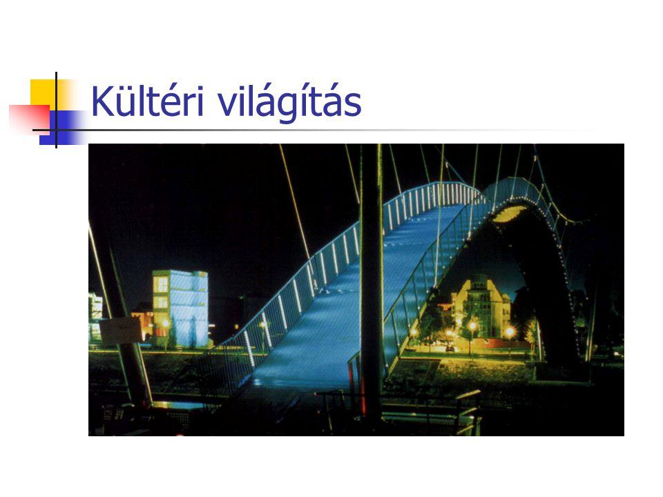 Kültéri világítás A Duisburg-i kikötőben gyalogos híd járdájának világítása (Stadtmarketing mit Licht, Fördergemeinschaft Gutes Licht, Nr.