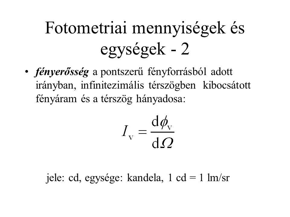 Fotometriai mennyiségek és egységek - 2