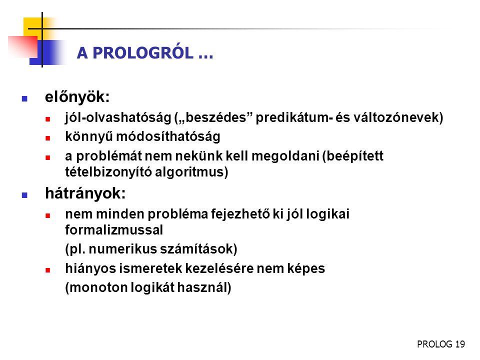 A PROLOGRÓL … előnyök: hátrányok: