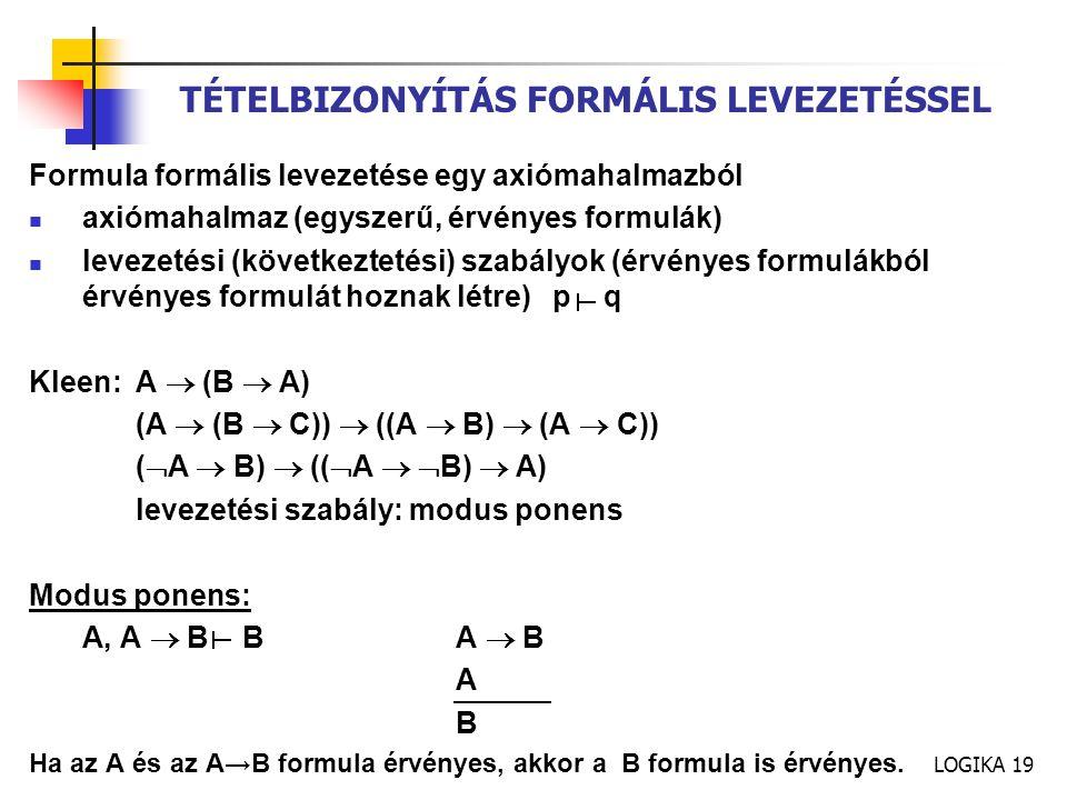 TÉTELBIZONYÍTÁS FORMÁLIS LEVEZETÉSSEL