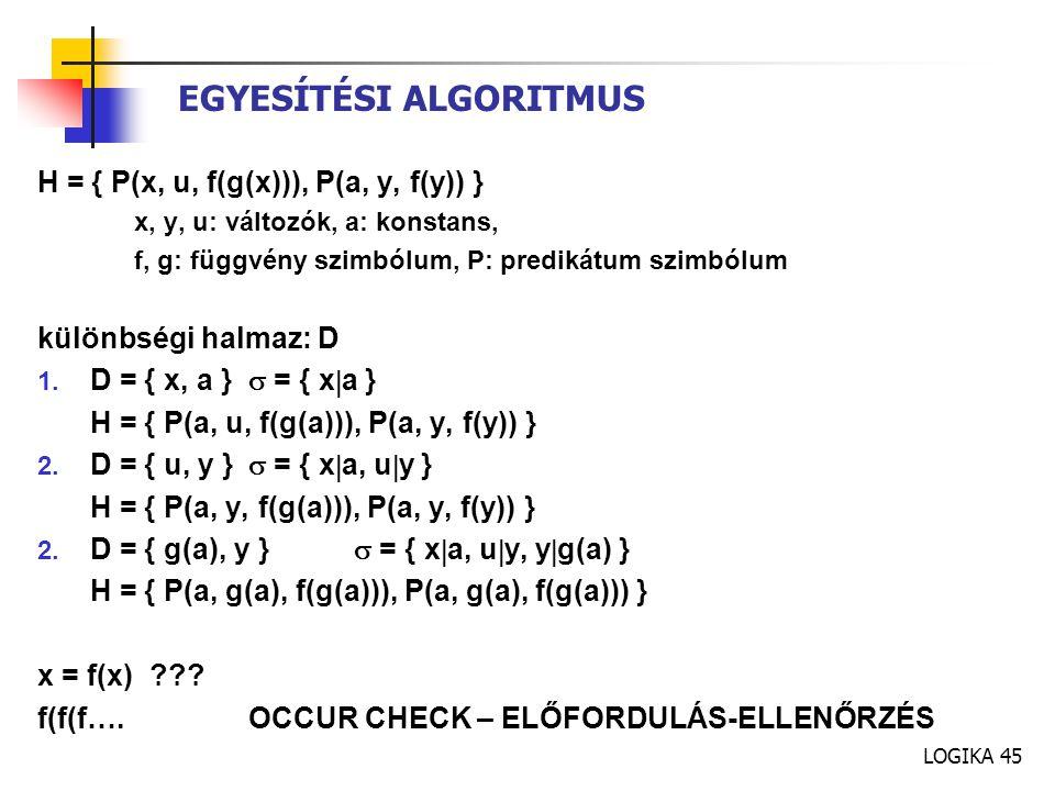 EGYESÍTÉSI ALGORITMUS