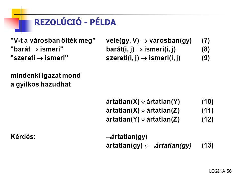 REZOLÚCIÓ - PÉLDA V-t a városban ölték meg vele(gy, V)  városban(gy) (7) barát  ismeri barát(i, j)  ismeri(i, j) (8)