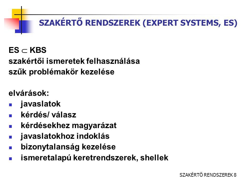 SZAKÉRTŐ RENDSZEREK (EXPERT SYSTEMS, ES)