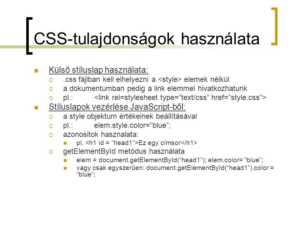 CSS-tulajdonságok használata