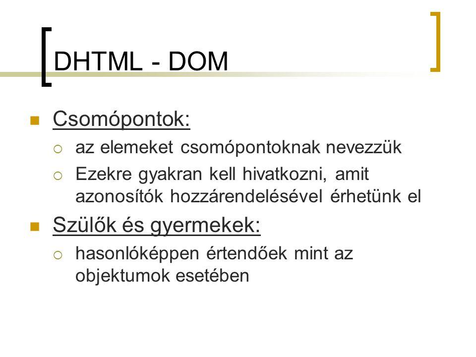 DHTML - DOM Csomópontok: Szülők és gyermekek:
