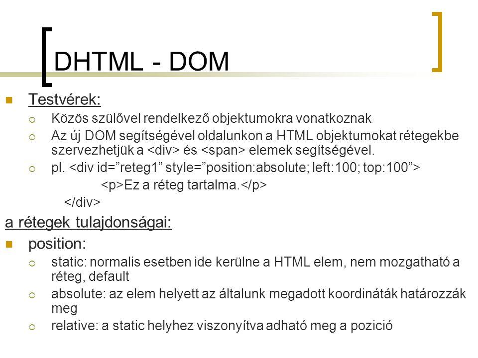DHTML - DOM Testvérek: a rétegek tulajdonságai: position: