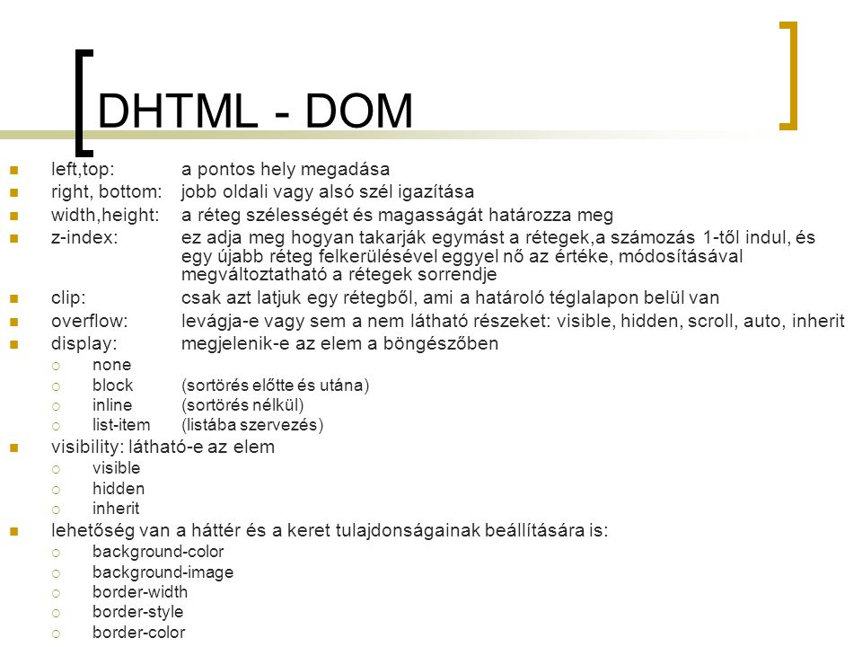 DHTML - DOM left,top: a pontos hely megadása