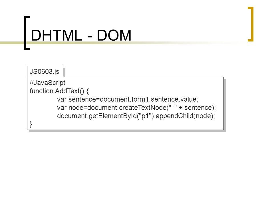 DHTML - DOM JS0603.js //JavaScript function AddText() {