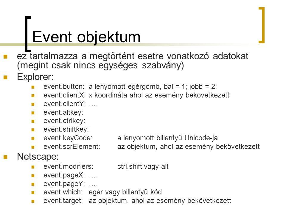 Event objektum ez tartalmazza a megtörtént esetre vonatkozó adatokat (megint csak nincs egységes szabvány)