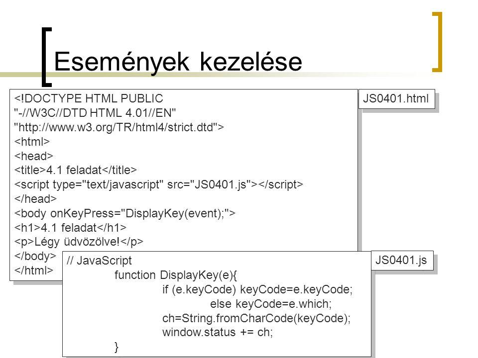 Események kezelése <!DOCTYPE HTML PUBLIC