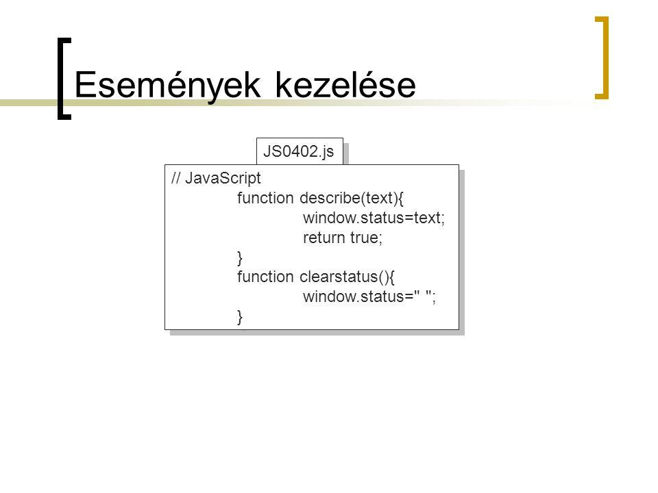 Események kezelése JS0402.js // JavaScript function describe(text){