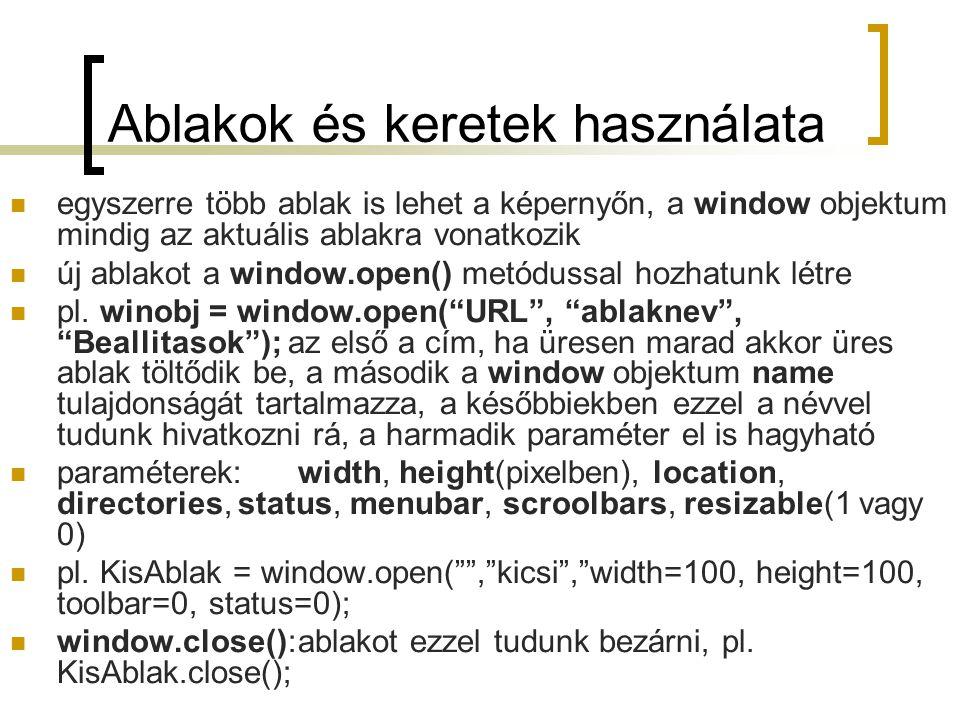 Ablakok és keretek használata