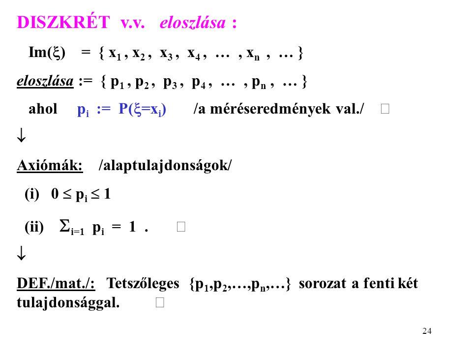 DISZKRÉT v.v. eloszlása :