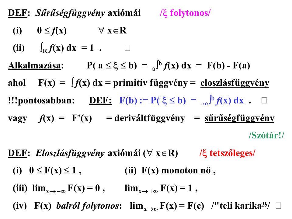 DEF: Sűrűségfüggvény axiómái / folytonos/