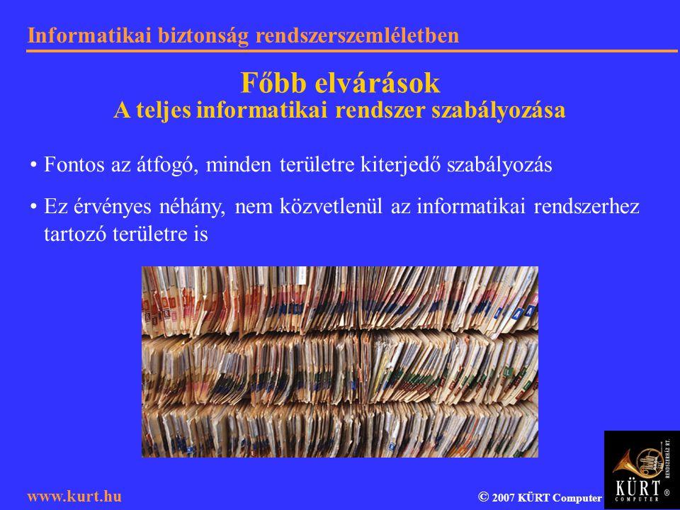 A teljes informatikai rendszer szabályozása