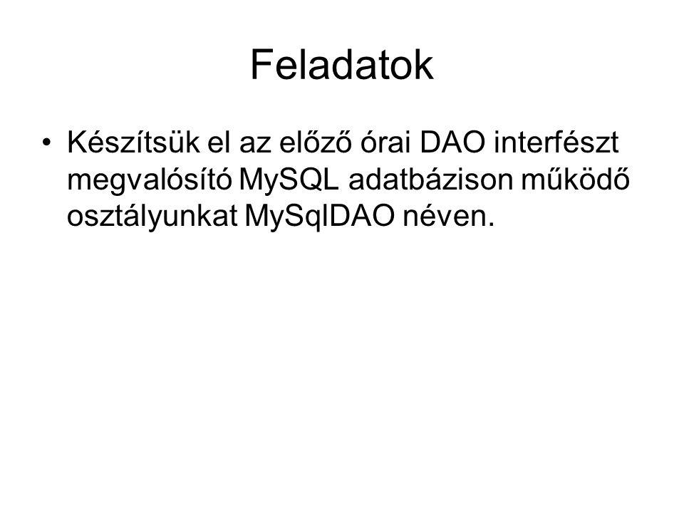 Feladatok Készítsük el az előző órai DAO interfészt megvalósító MySQL adatbázison működő osztályunkat MySqlDAO néven.