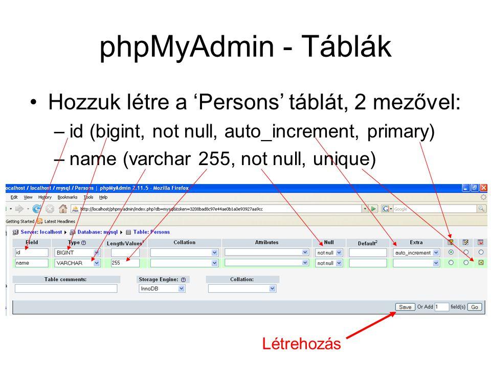 phpMyAdmin - Táblák Hozzuk létre a 'Persons' táblát, 2 mezővel: