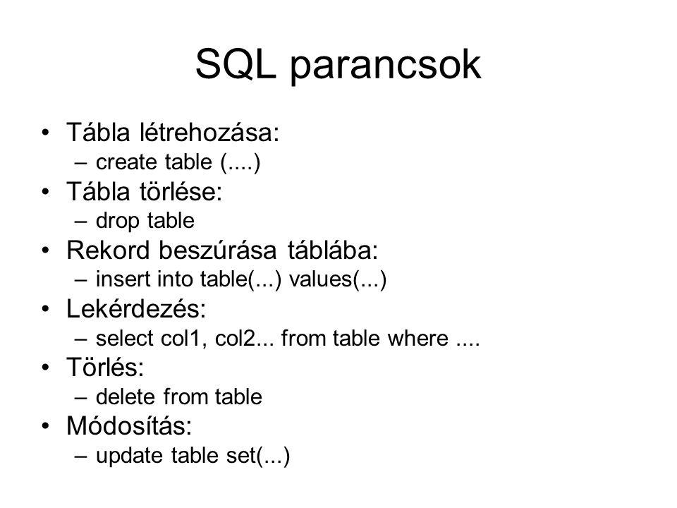 SQL parancsok Tábla létrehozása: Tábla törlése: