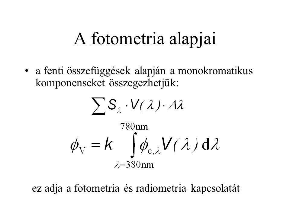 A fotometria alapjai a fenti összefüggések alapján a monokromatikus komponenseket összegezhetjük: ez adja a fotometria és radiometria kapcsolatát.