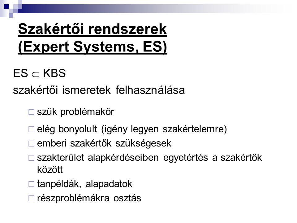 Szakértői rendszerek (Expert Systems, ES)