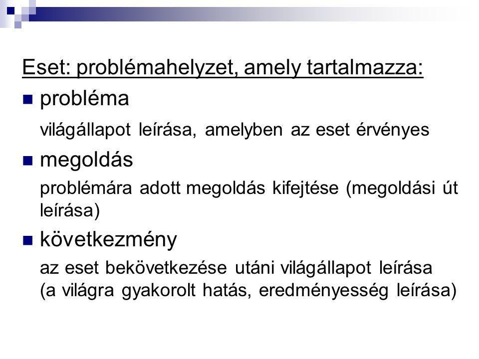 Eset: problémahelyzet, amely tartalmazza: probléma