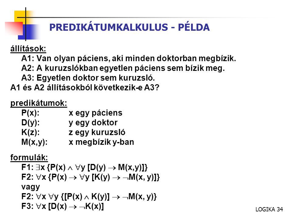 PREDIKÁTUMKALKULUS - PÉLDA