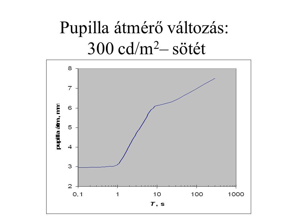 Pupilla átmérő változás: 300 cd/m2– sötét
