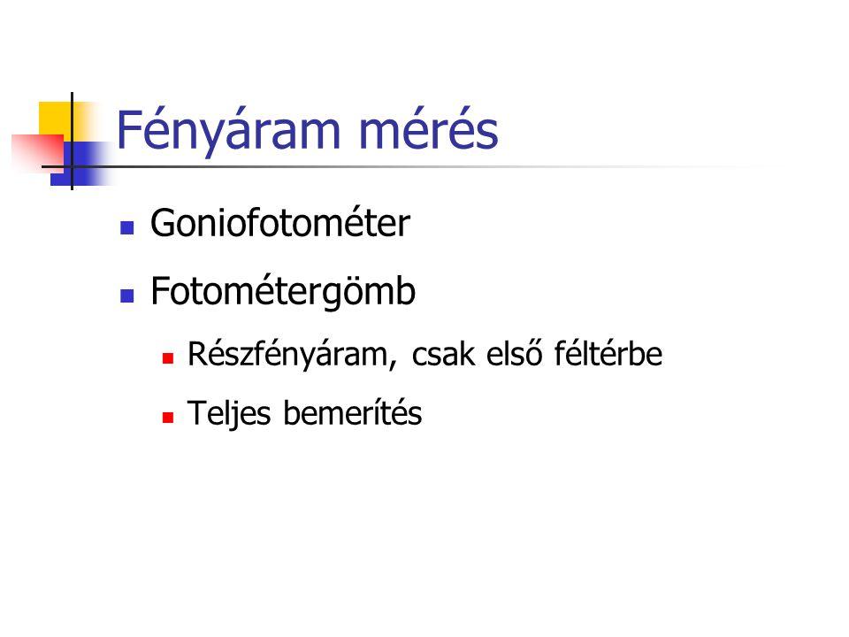 Fényáram mérés Goniofotométer Fotométergömb