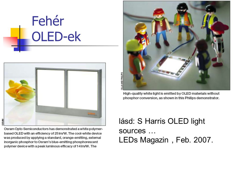 Fehér OLED-ek lásd: S Harris OLED light sources …