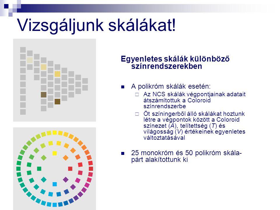 Vizsgáljunk skálákat! Egyenletes skálák különböző színrendszerekben