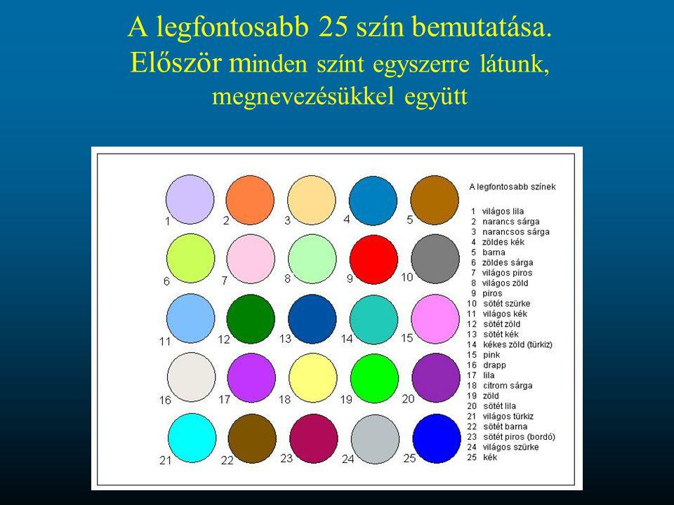 A legfontosabb 25 szín bemutatása