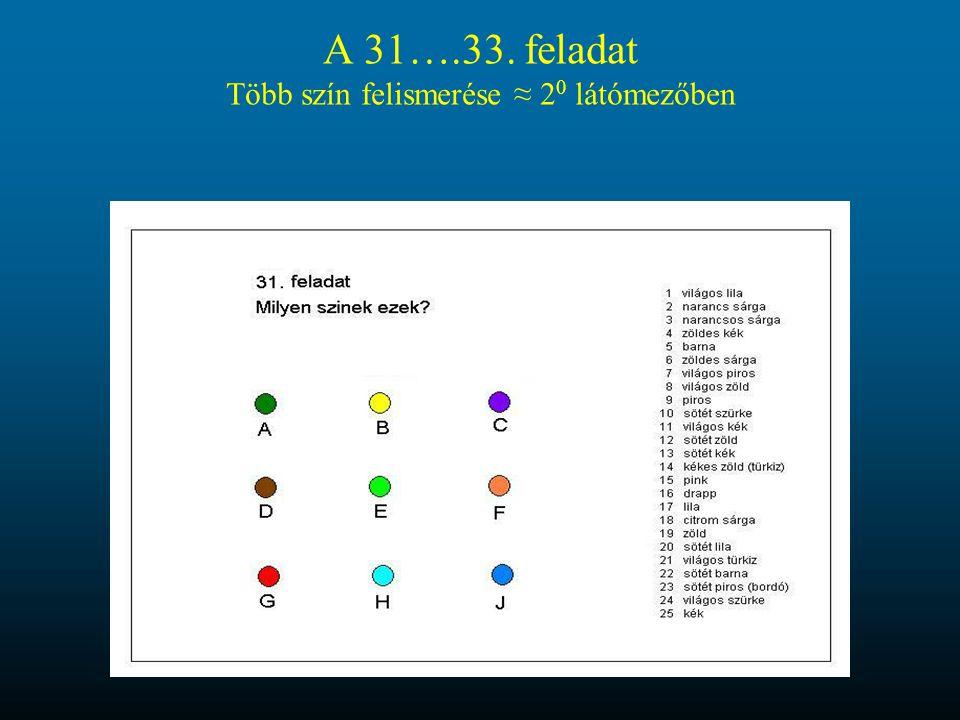 A 31….33. feladat Több szín felismerése ≈ 20 látómezőben
