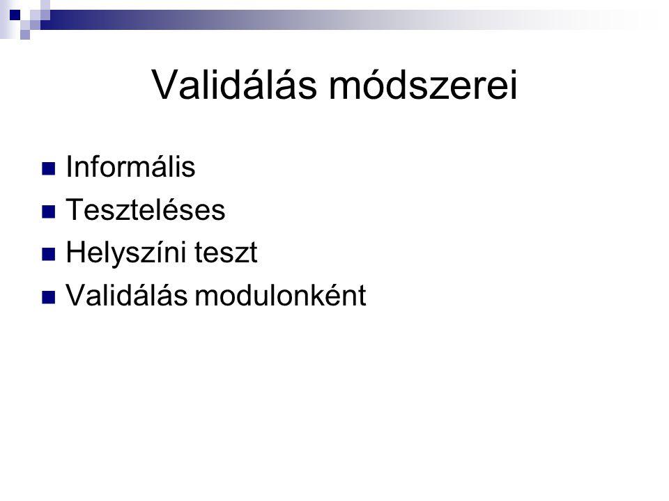 Validálás módszerei Informális Teszteléses Helyszíni teszt