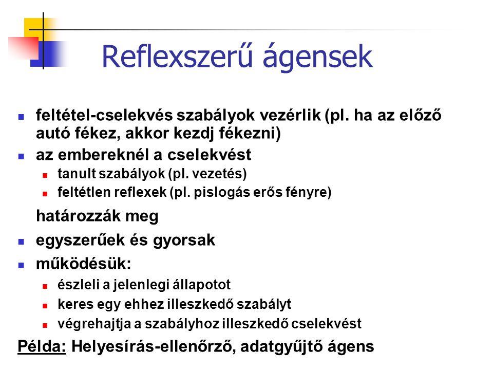 Reflexszerű ágensek határozzák meg