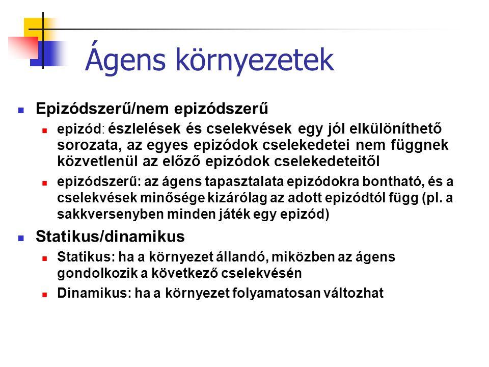 Ágens környezetek Epizódszerű/nem epizódszerű Statikus/dinamikus