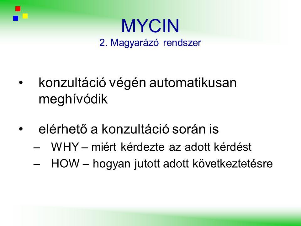MYCIN konzultáció végén automatikusan meghívódik