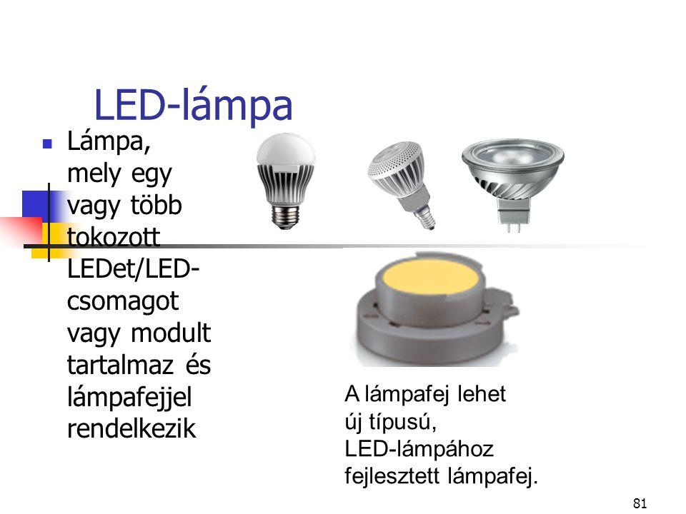 LED-lámpa Lámpa, mely egy vagy több tokozott LEDet/LED-csomagot vagy modult tartalmaz és lámpafejjel rendelkezik.