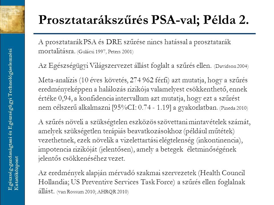 Prosztatarákszűrés PSA-val; Példa 2.