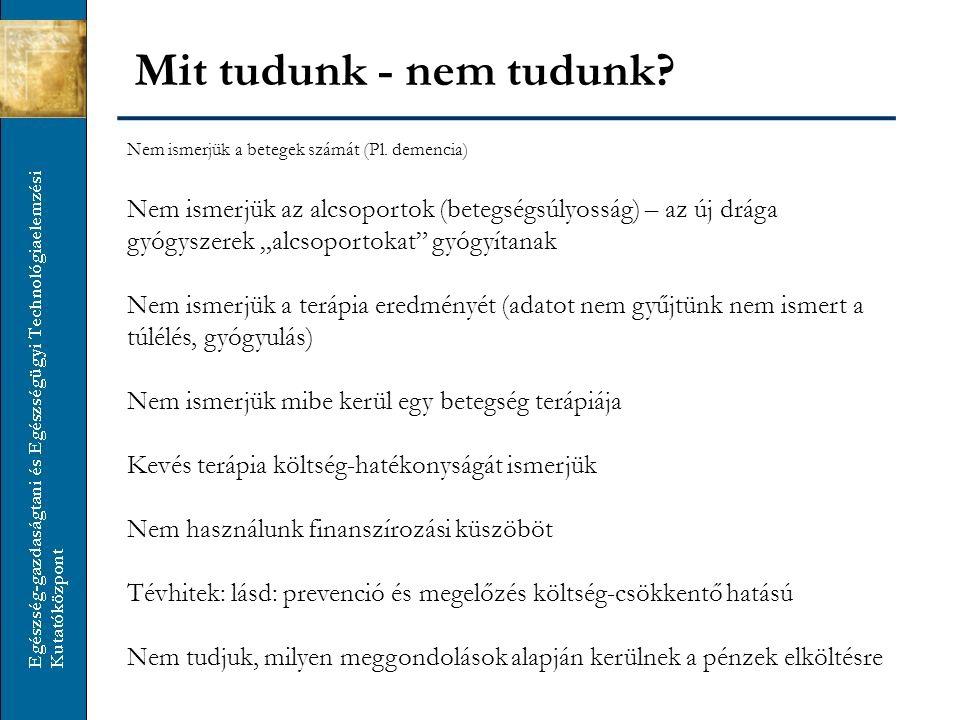 Mit tudunk - nem tudunk Nem ismerjük a betegek számát (Pl. demencia)