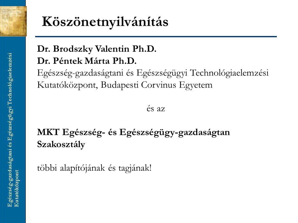Köszönetnyilvánítás Dr. Brodszky Valentin Ph.D. Dr. Péntek Márta Ph.D.